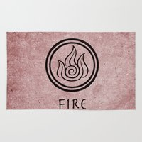 the last airbender Area & Throw Rugs featuring Avatar Last Airbender Elements - Fire by bdubzgear