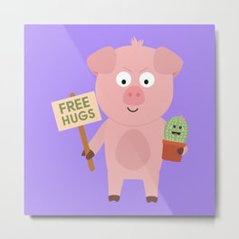 Pig with Cactus Metal Print