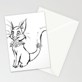 Color-or-Paint-Your-Own Cat with Flowers #ArtofGaneneK #AdultColoring #Animal Stationery Cards