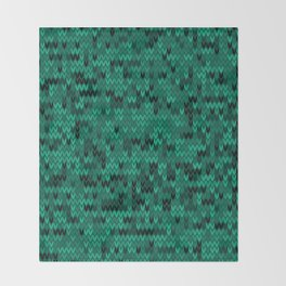 Green knitted textiles Throw Blanket
