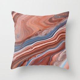 Modern Lines Irregular Brown Blue Stripes Throw Pillow