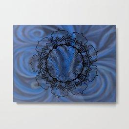 Water Swirl Mandala Metal Print