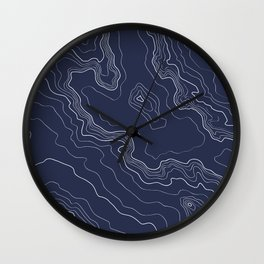 Navy topography map Wall Clock