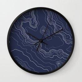 Navy topography map Wall Clock