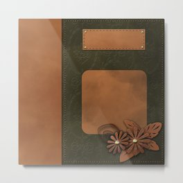 """A series of """"Covers for notebooks"""" . Brown and green leather. Metal Print"""