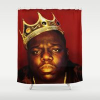 biggie smalls Shower Curtains featuring Biggie by I Love Decor
