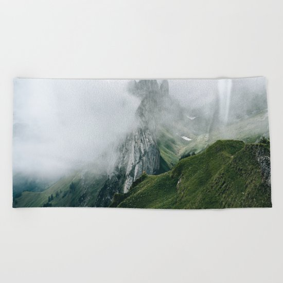 Switzerland Mountain Range in the Clouds - Landscape Photography Beach Towel