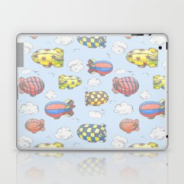 Hand drawn vector vintage seamless pattern with cute little airchips with strips, stars, dots and sq Laptop & iPad Skin