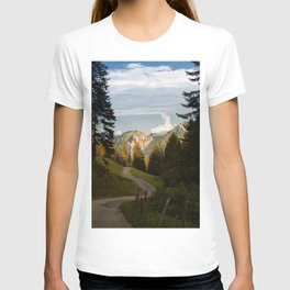 through the woods and over the mountains T-shirt