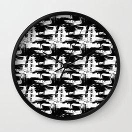 Black Texture of brush strokes Wall Clock