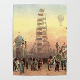 Ferris Wheel at Sunset in Chicago 1893 Poster