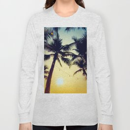 Vintage Palm trees with patio lanterns Long Sleeve T-shirt
