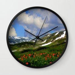 High Alpine Meadows Wall Clock