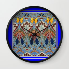 Ornate blue & Yellow Art Nouveau Butterfly Red Designs Wall Clock