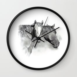 Horse Mare and Foal, Pencil Drawing, Equine Art Wall Clock