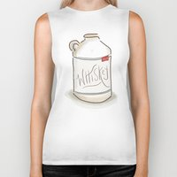whiskey Biker Tanks featuring Whiskey Illustration  by Old South Inkery