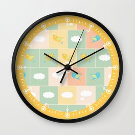Clouds and birds Wall Clock