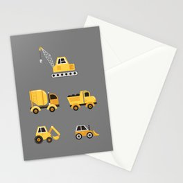 Construction Trucks on Gray Stationery Cards