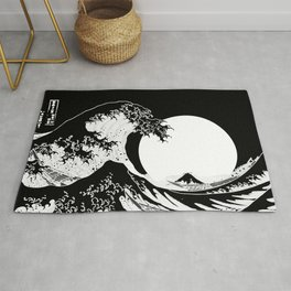 The Great Wave Black and White Inverse Rug