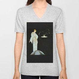 """Art Deco Illustration """"Garden of the Moon"""" Unisex V-Neck"""