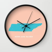 tennessee Wall Clocks featuring Tennessee by Hunter Ellenbarger