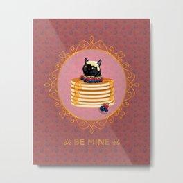 Black Cat Strawberry Blueberry Pancake Valentines Metal Print