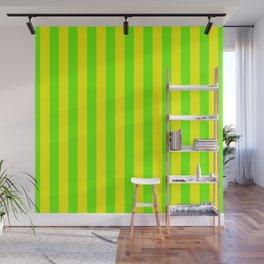 Super Bright Neon Yellow and Green Vertical Beach Hut Stripes Wall Mural