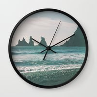 iceland Wall Clocks featuring Vík, Iceland by Chelle Wootten