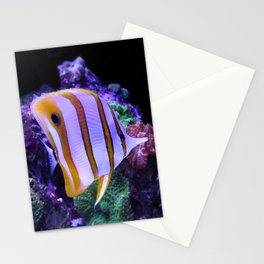 White and Yellow Butterfly Fish Stationery Cards