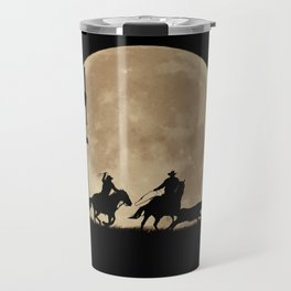 Rustler's Moon, Cowboys Roping Country Western Moon and Windmill Travel Mug