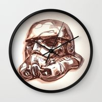 storm trooper Wall Clocks featuring Storm Trooper by scottpratherpaints