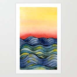 Sunset Waves Art Print