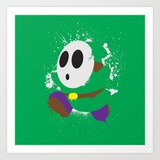 Green Shy Guy Splattery Design Art Print