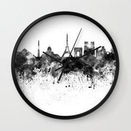 Paris skyline in black watercolor Wall Clock