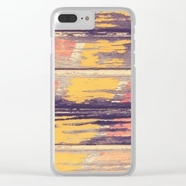 Weathered Painted Wood Wall Clear iPhone Case