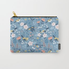 Birds & Blooms (Blue) Carry-All Pouch