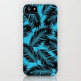 Palm Frond Tropical Décor Leaf Pattern Black on Cyan Vivid Arctic Blue iPhone Case