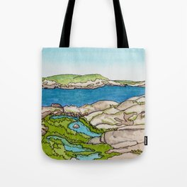 Peggy's Cove Watercolour Painting Backside Tote Bag