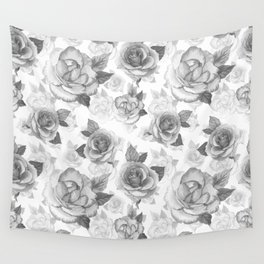 Hand painted black white watercolor roses floral pattern Wall Tapestry