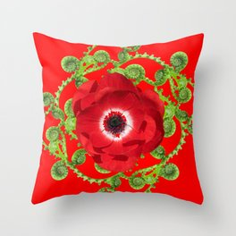 DECORATIVE RED SPRING FLOWER & GREEN FERNS SPIRALS Throw Pillow