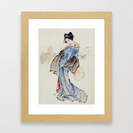 Japanese woman in kimono - Hokusai Framed Art Print