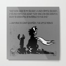 The LITTLE PRINCE and the FOX quote - stencil - grey version Metal Print