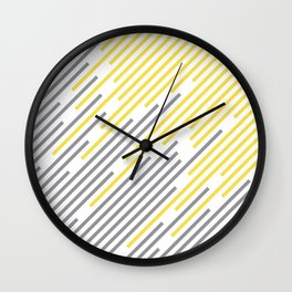 Abstract Diagonal Stripe Line Pattern Pantone 2021 Color Of The Year Illuminating and Ultimate Gray  Wall Clock