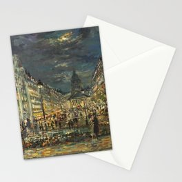 Place du Panthéon, Latin Quarter, Paris, Montagne Sainte-Geneviève, France landscape painting by Konstantin Korovin Stationery Cards