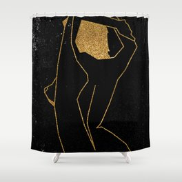 Gold Glitter Nude in One Line Shower Curtain