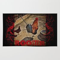 rooster Area & Throw Rugs featuring Rooster by Justin Alan Casey