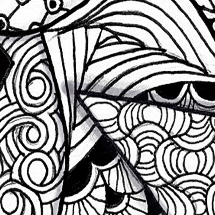Midnight Zentangle Stars Black and White Illustration Leggings