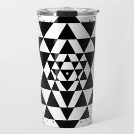 Sri Yantra Black & White Sacred Geometry Mandala Travel Mug