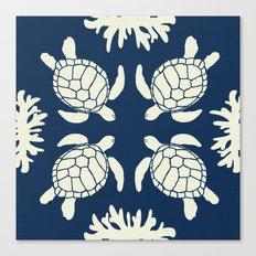 Sea Turtles on Indigo Linen Canvas Print