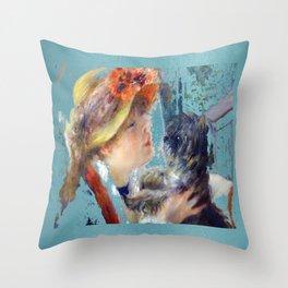 renoir girl and dog teal Throw Pillow